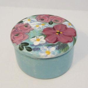 Vintage LESAL Ceramic Floral Trinket Box